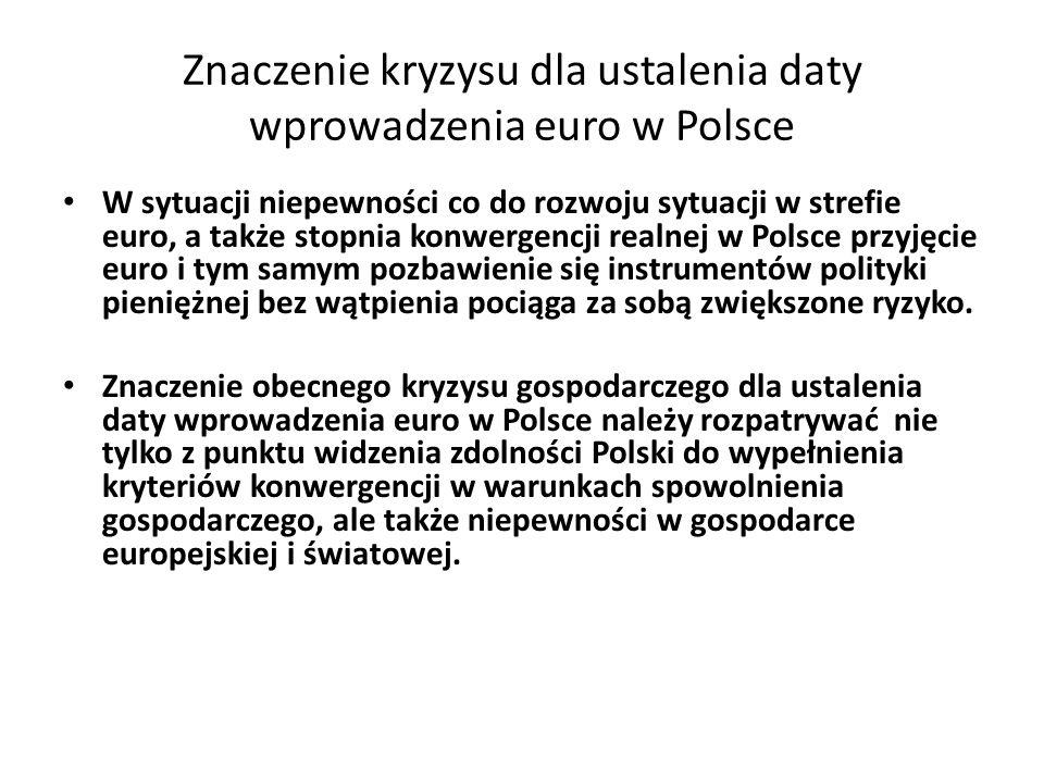 Znaczenie kryzysu dla ustalenia daty wprowadzenia euro w Polsce
