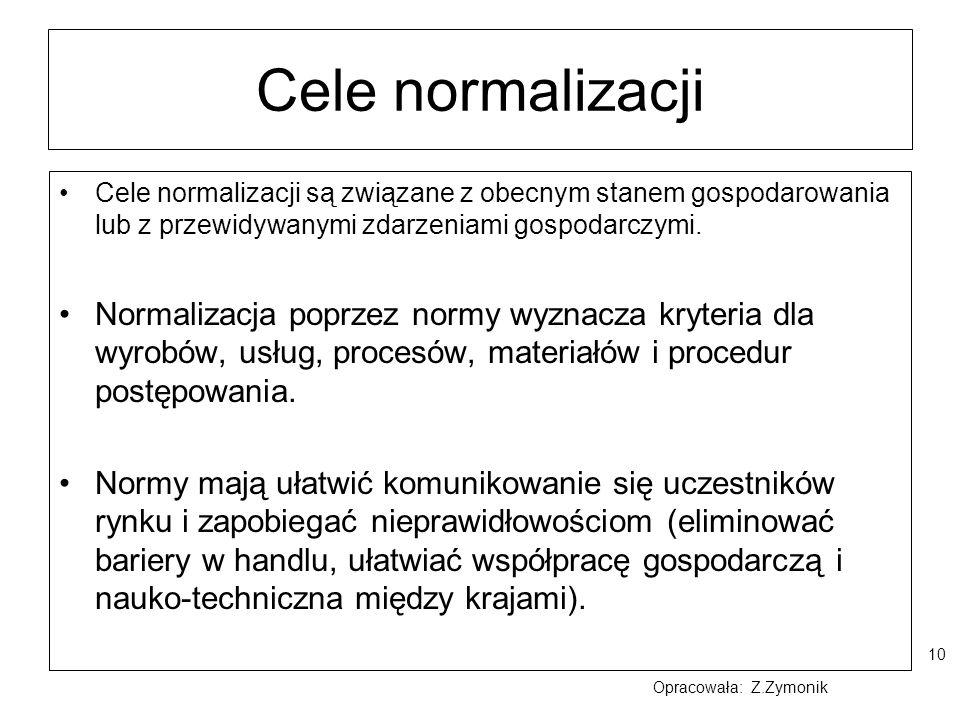 Cele normalizacji Cele normalizacji są związane z obecnym stanem gospodarowania lub z przewidywanymi zdarzeniami gospodarczymi.
