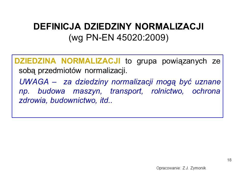 DEFINICJA DZIEDZINY NORMALIZACJI (wg PN-EN 45020:2009)