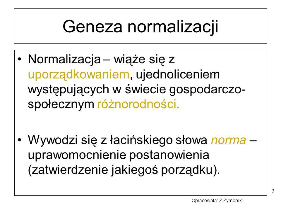 Geneza normalizacji Normalizacja – wiąże się z uporządkowaniem, ujednoliceniem występujących w świecie gospodarczo-społecznym różnorodności.