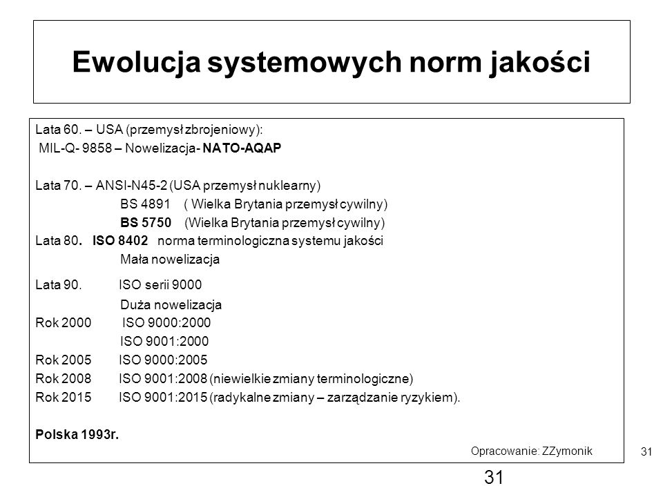 Ewolucja systemowych norm jakości