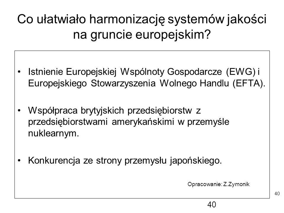 Co ułatwiało harmonizację systemów jakości na gruncie europejskim