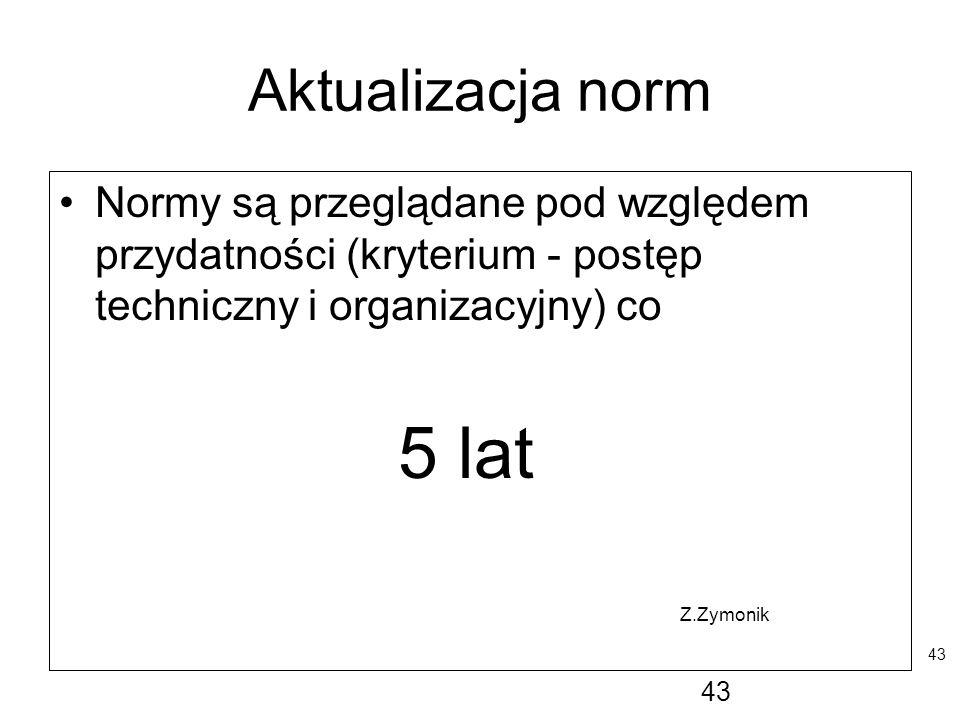 Aktualizacja norm Normy są przeglądane pod względem przydatności (kryterium - postęp techniczny i organizacyjny) co.