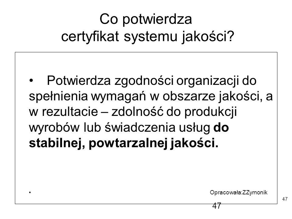 Co potwierdza certyfikat systemu jakości