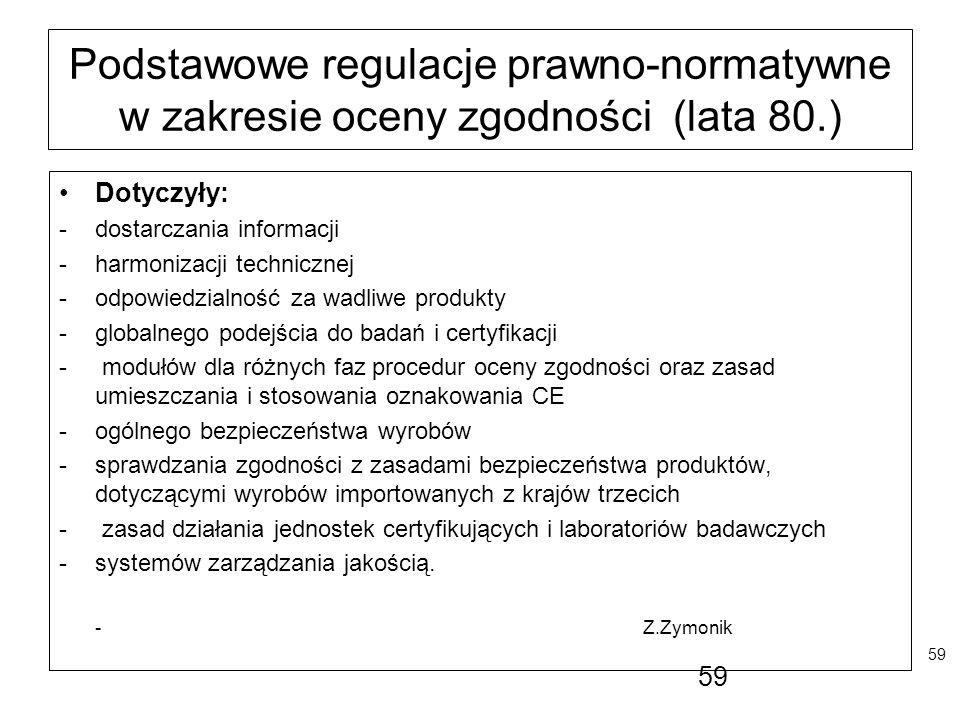 Podstawowe regulacje prawno-normatywne w zakresie oceny zgodności (lata 80.)