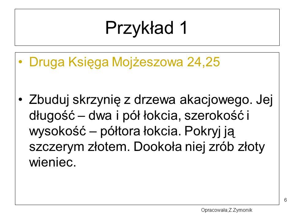 Przykład 1 Druga Księga Mojżeszowa 24,25