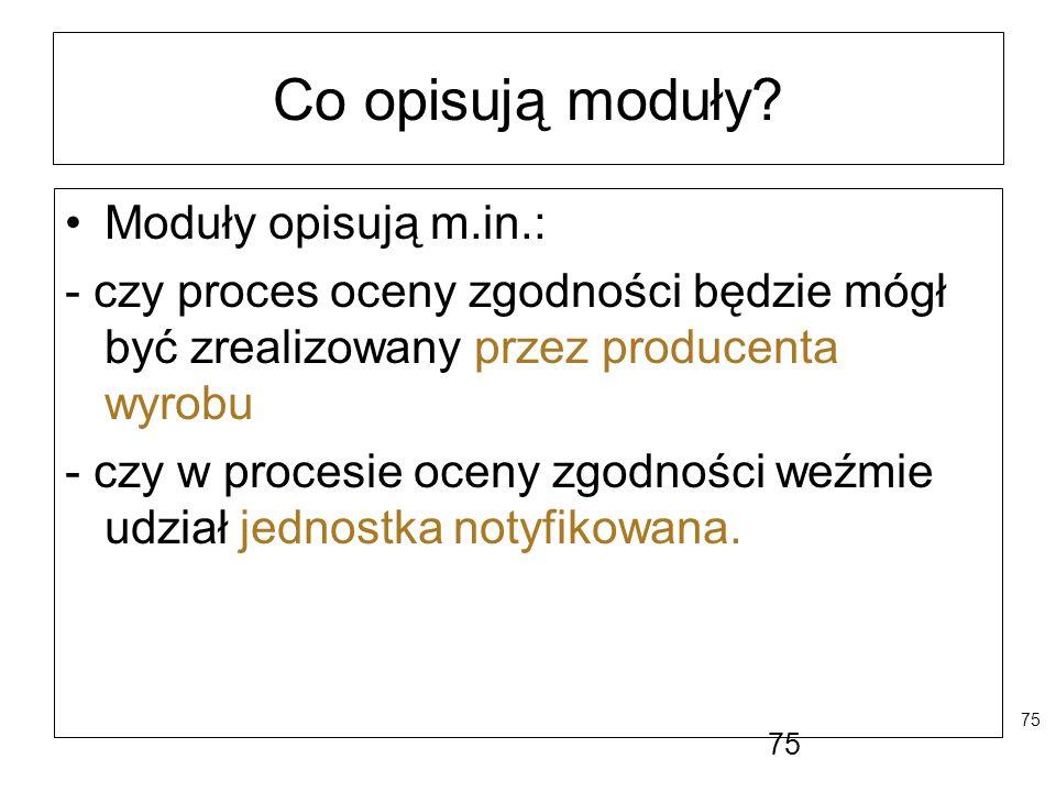 Co opisują moduły Moduły opisują m.in.:
