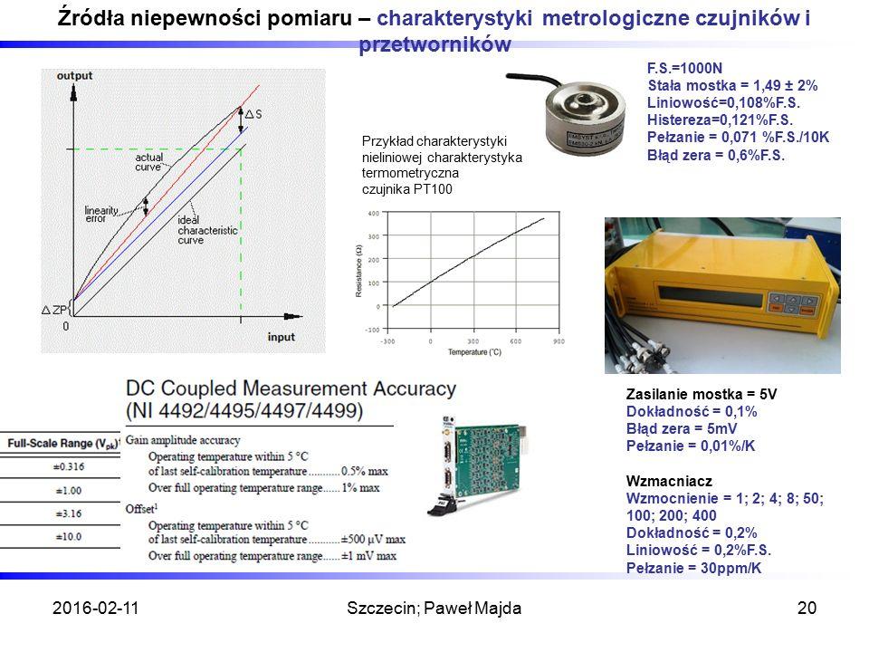 Źródła niepewności pomiaru – charakterystyki metrologiczne czujników i przetworników