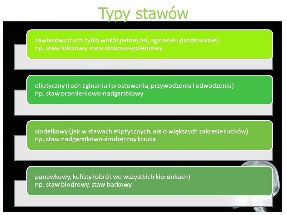 Typy stawów zawiasowy (ruch tylko wokół jednej osi, zginanie i prostowanie) np. staw łokciowy, staw skokowo-goleniowy.