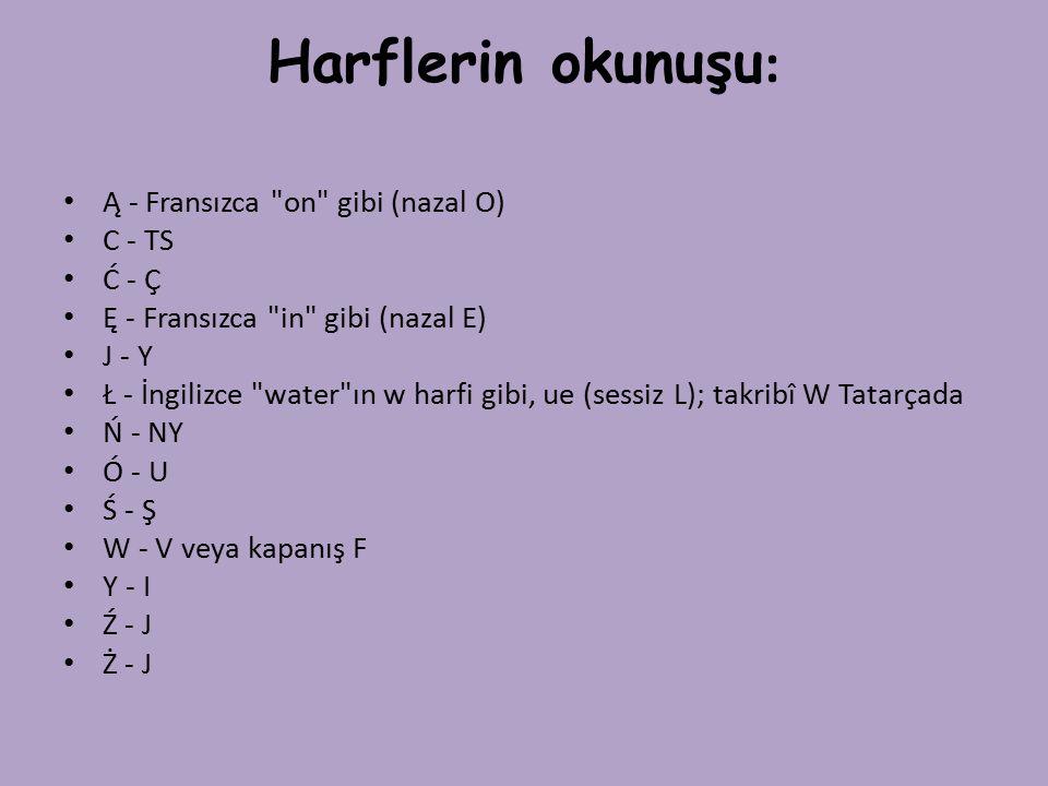 Harflerin okunuşu: Ą - Fransızca on gibi (nazal O) C - TS Ć - Ç