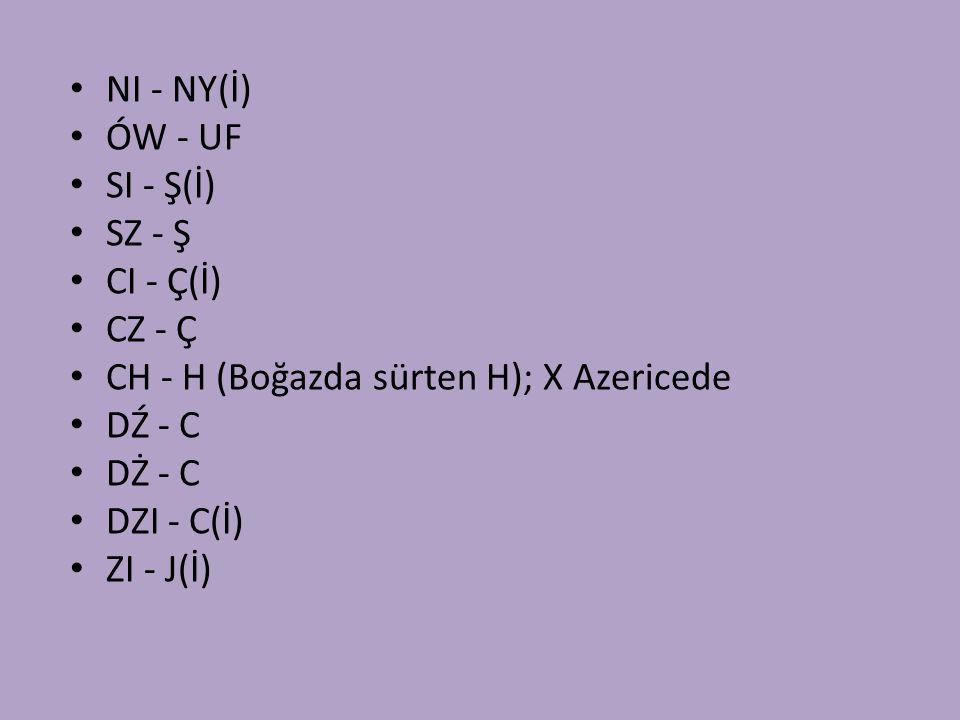 NI - NY(İ) ÓW - UF. SI - Ş(İ) SZ - Ş. CI - Ç(İ) CZ - Ç. CH - H (Boğazda sürten H); X Azericede.