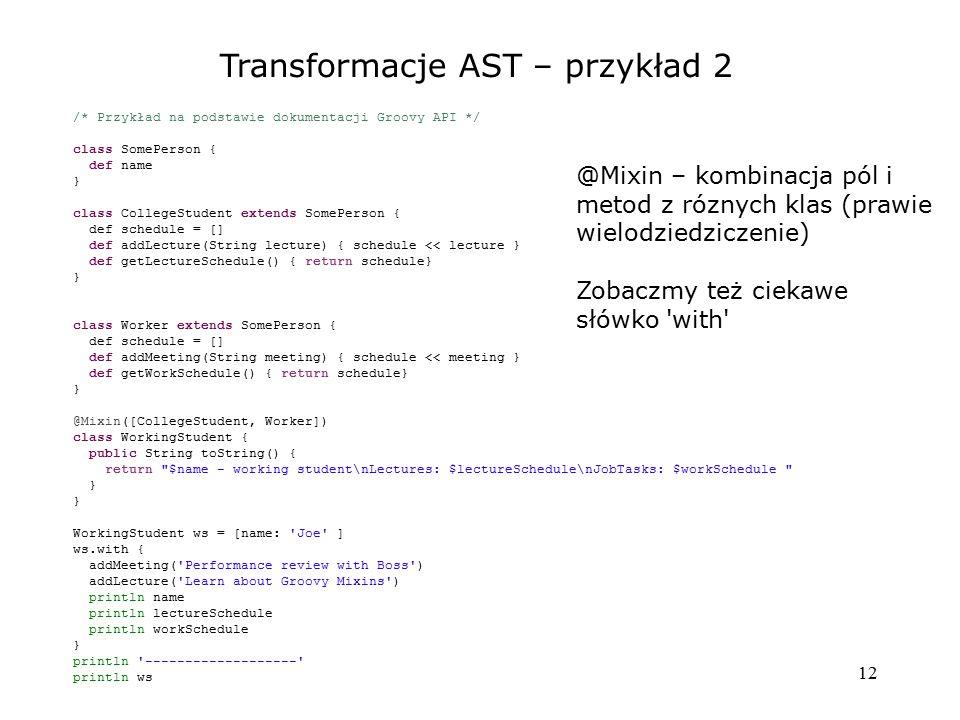 Transformacje AST – przykład 2