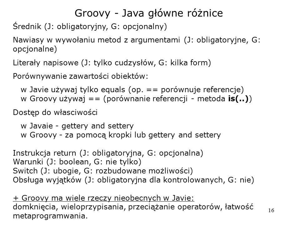 Groovy - Java główne różnice