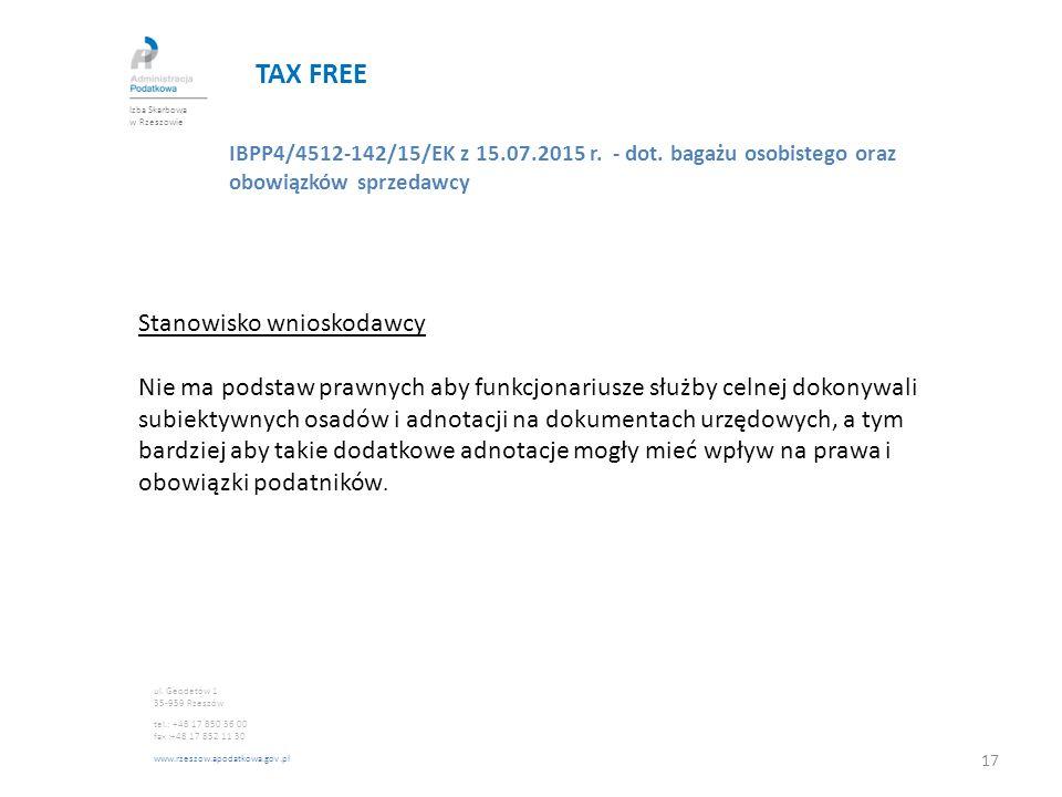 TAX FREE Stanowisko wnioskodawcy