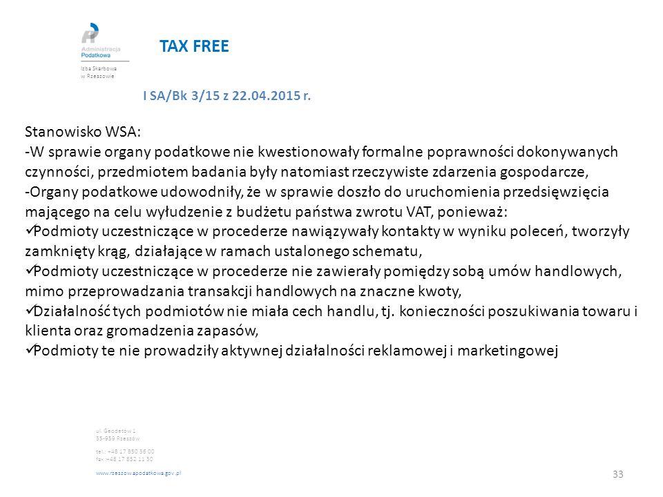 TAX FREE Stanowisko WSA: