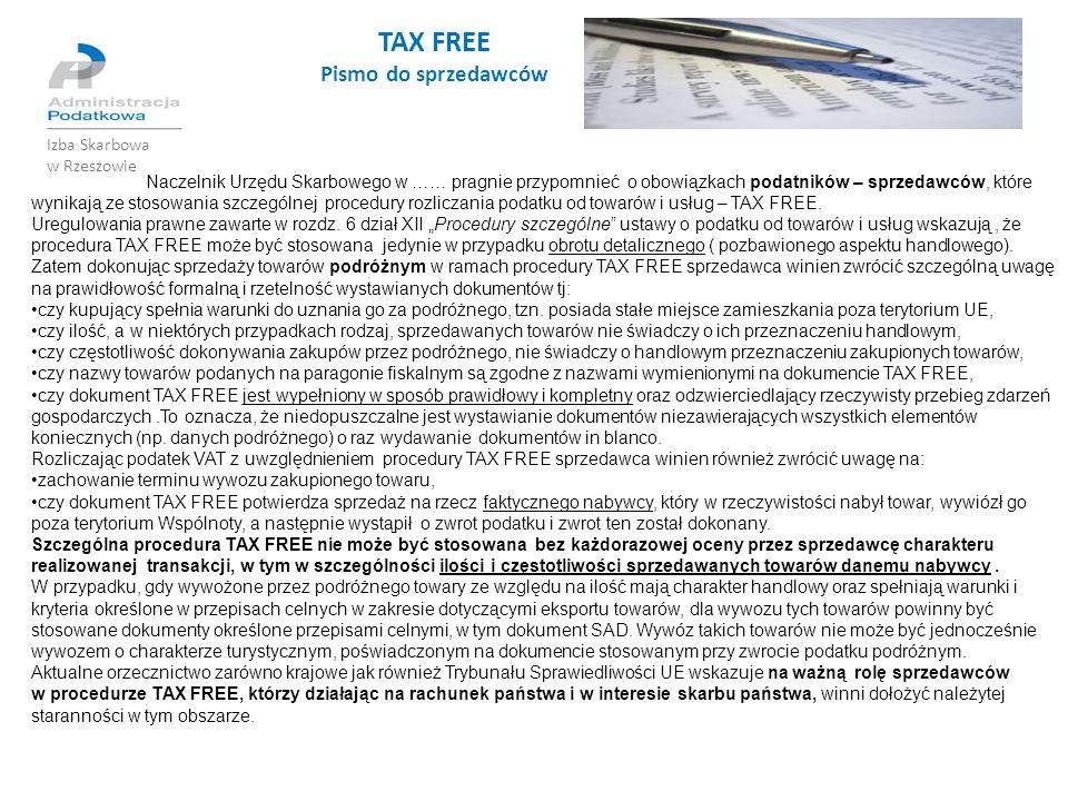 TAX FREE Pismo do sprzedawców Izba Skarbowa w Rzeszowie