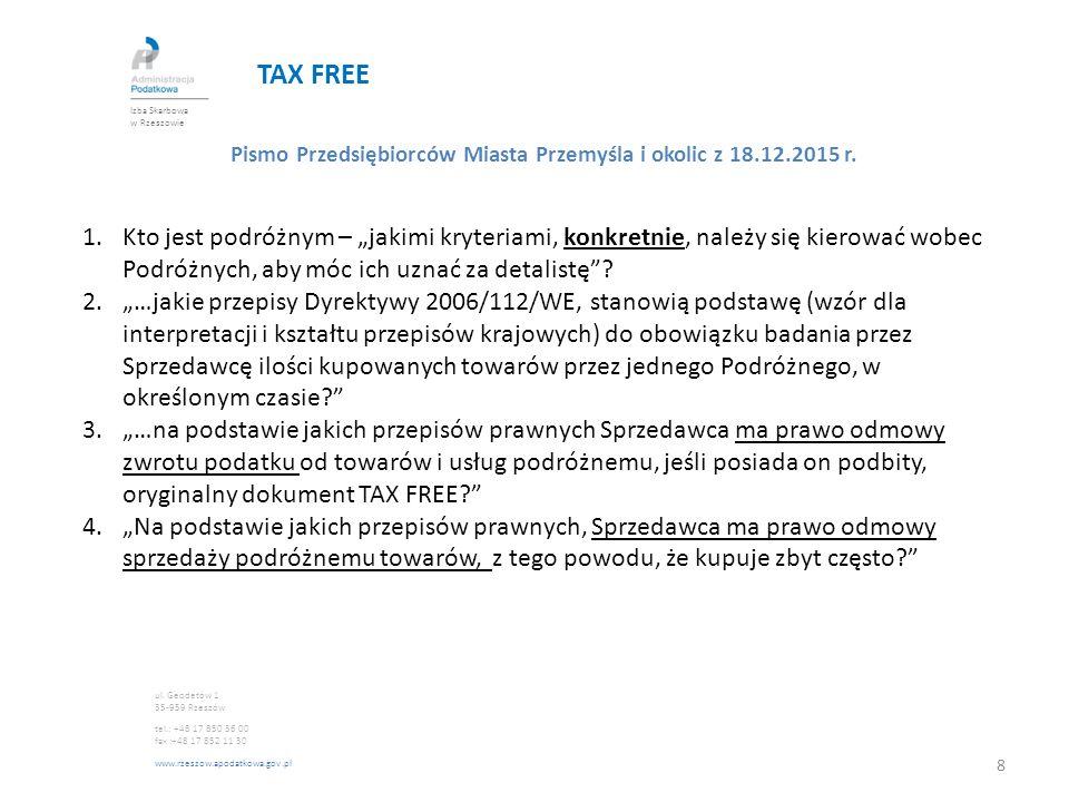 TAX FREE Izba Skarbowa w Rzeszowie. Pismo Przedsiębiorców Miasta Przemyśla i okolic z 18.12.2015 r.