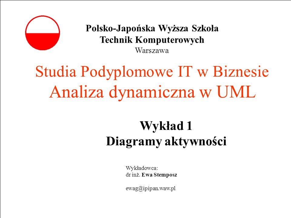Studia Podyplomowe IT w Biznesie Analiza dynamiczna w UML