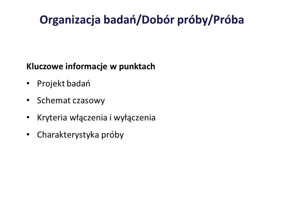 Organizacja badań/Dobór próby/Próba