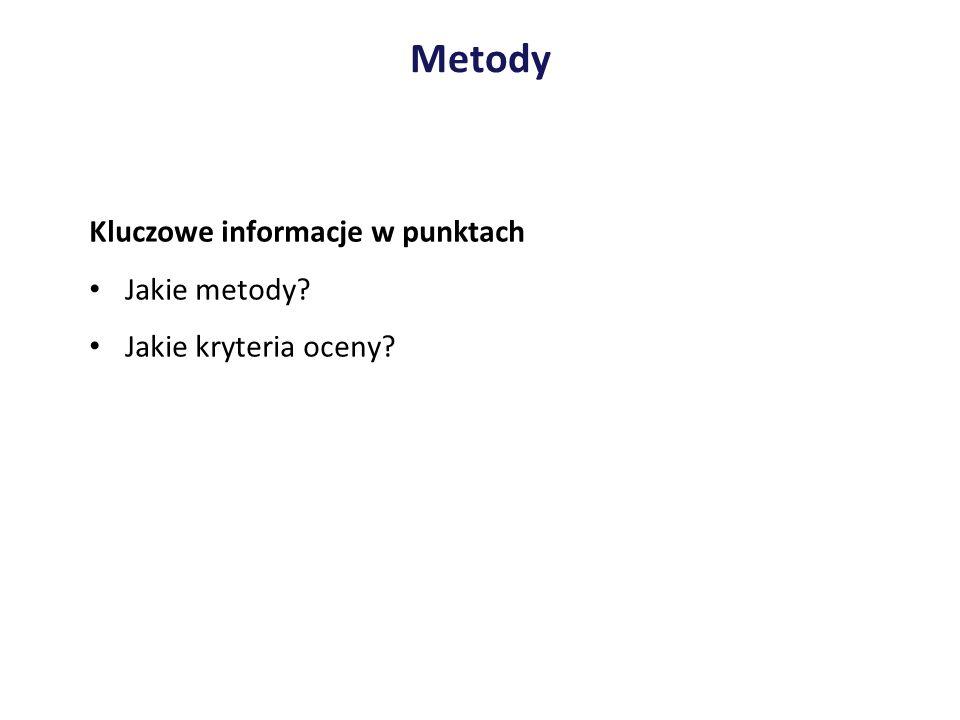 Metody Kluczowe informacje w punktach Jakie metody