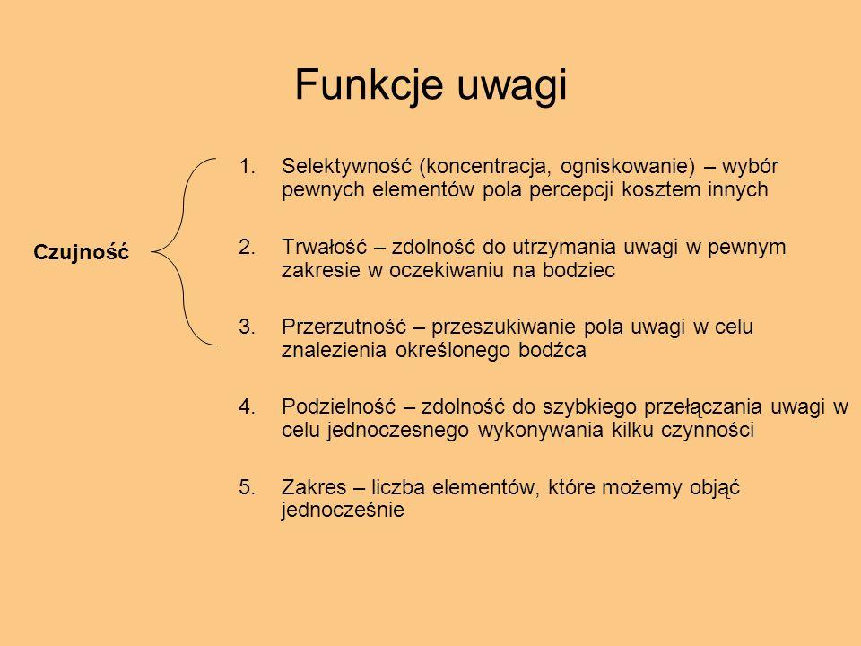 Funkcje uwagi Selektywność (koncentracja, ogniskowanie) – wybór pewnych elementów pola percepcji kosztem innych.