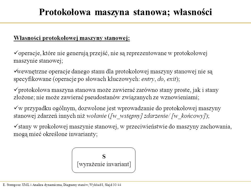 Protokołowa maszyna stanowa; własności