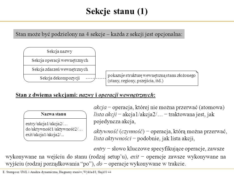 Sekcje stanu (1) Stan może być podzielony na 4 sekcje – każda z sekcji jest opcjonalna: Sekcja nazwy.