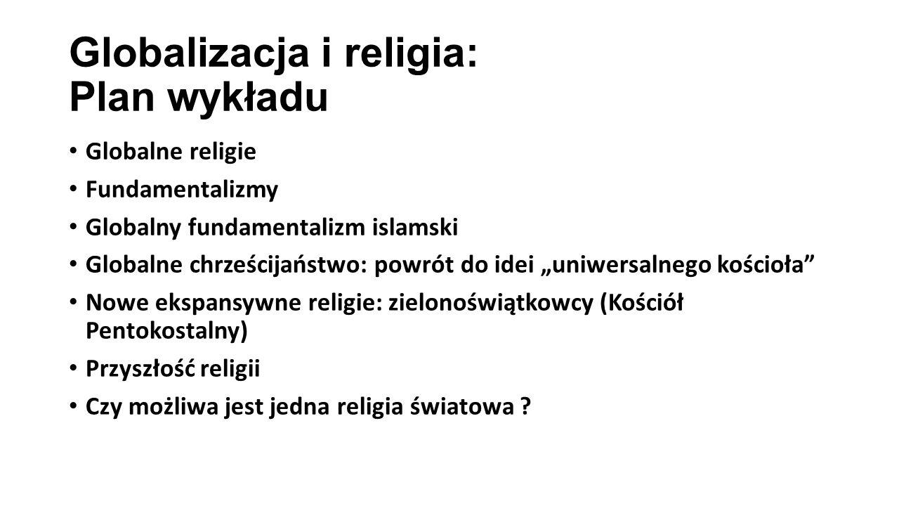 Globalizacja i religia: Plan wykładu