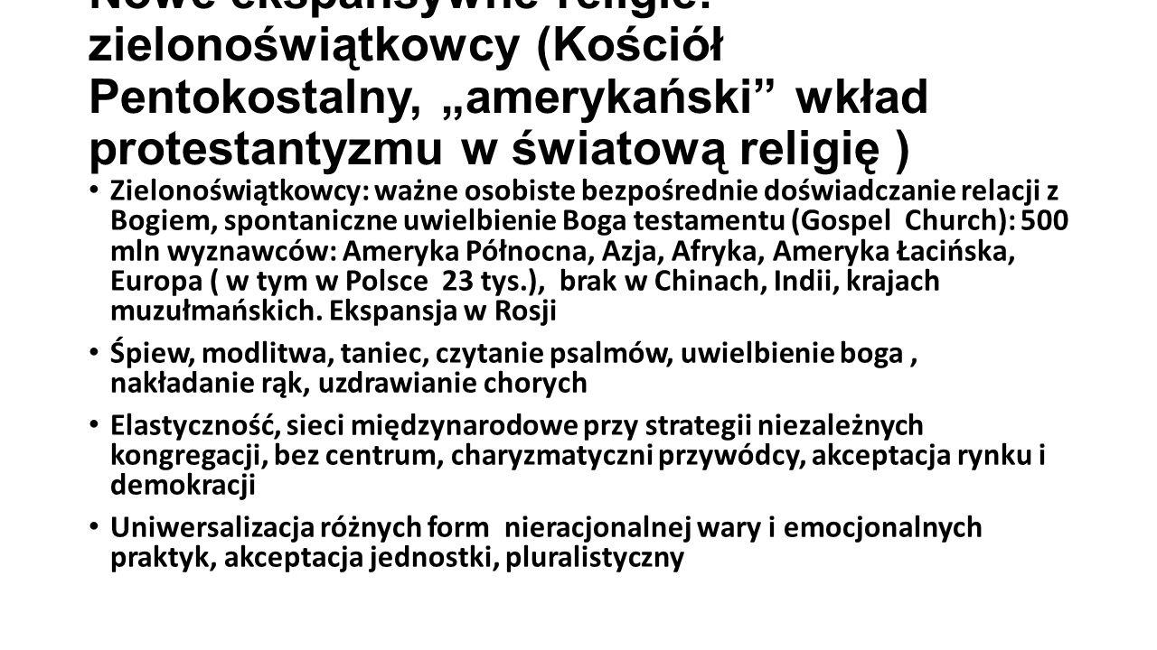 """Nowe ekspansywne religie: zielonoświątkowcy (Kościół Pentokostalny, """"amerykański wkład protestantyzmu w światową religię )"""