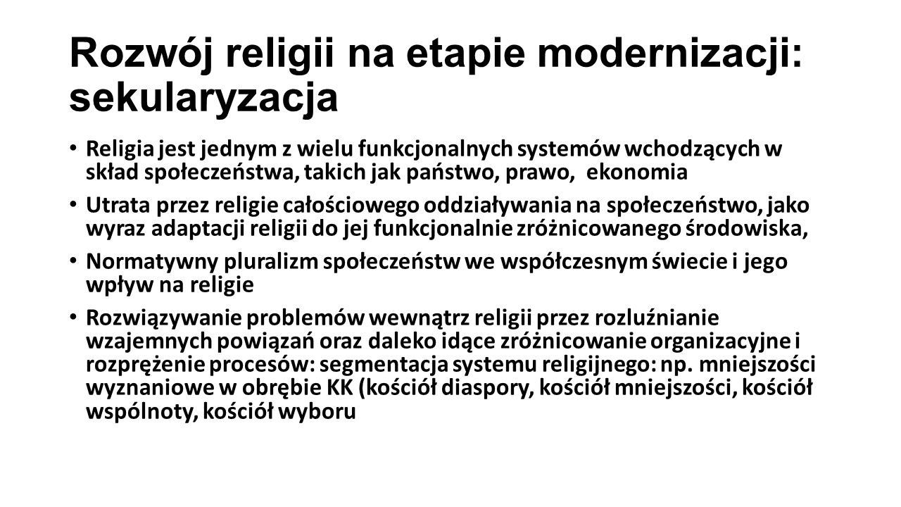 Rozwój religii na etapie modernizacji: sekularyzacja