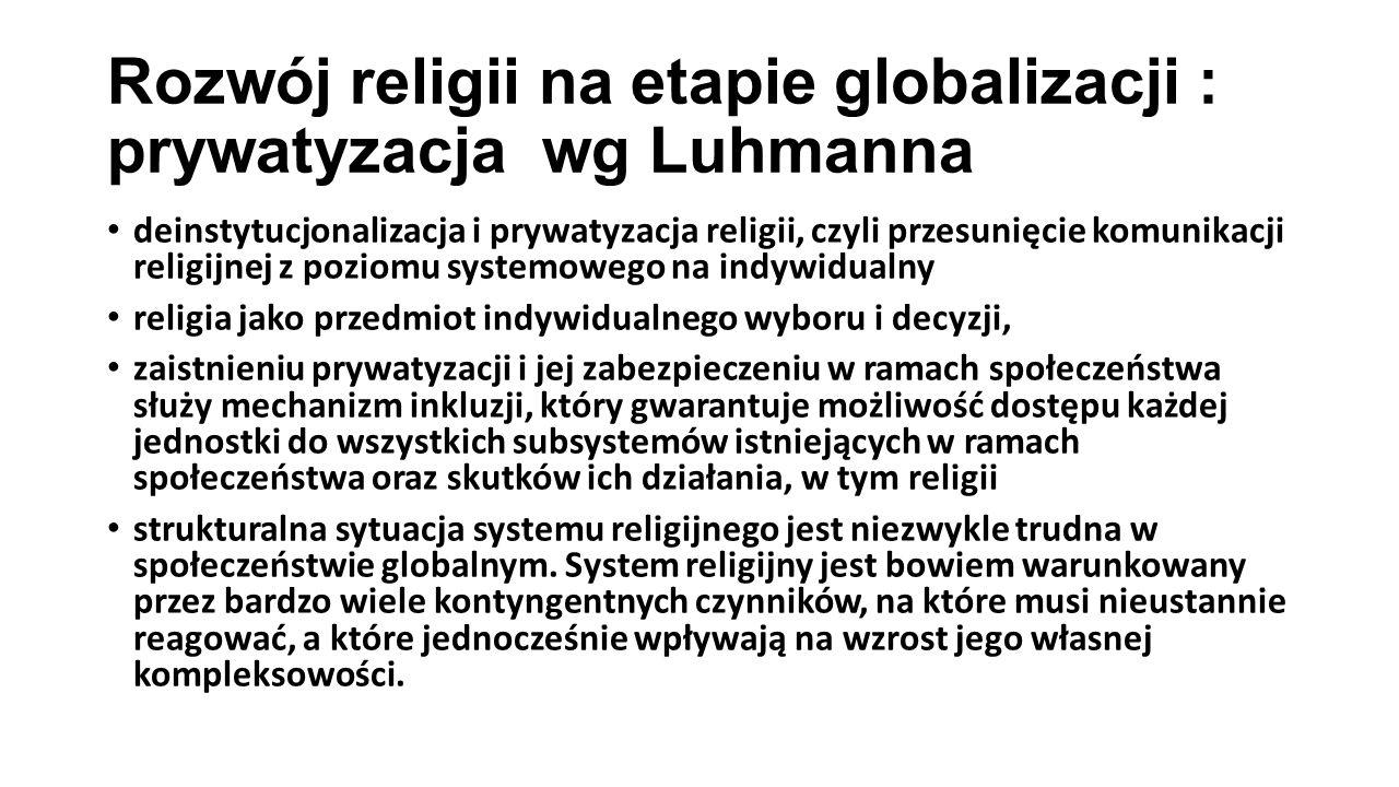 Rozwój religii na etapie globalizacji : prywatyzacja wg Luhmanna