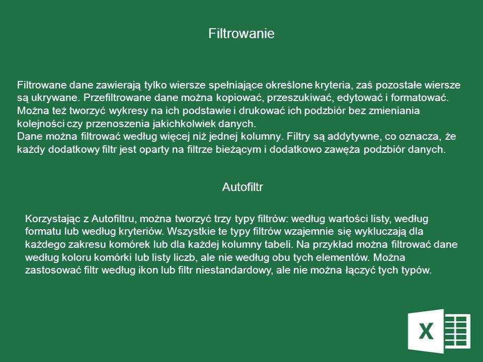 Filtrowanie Autofiltr