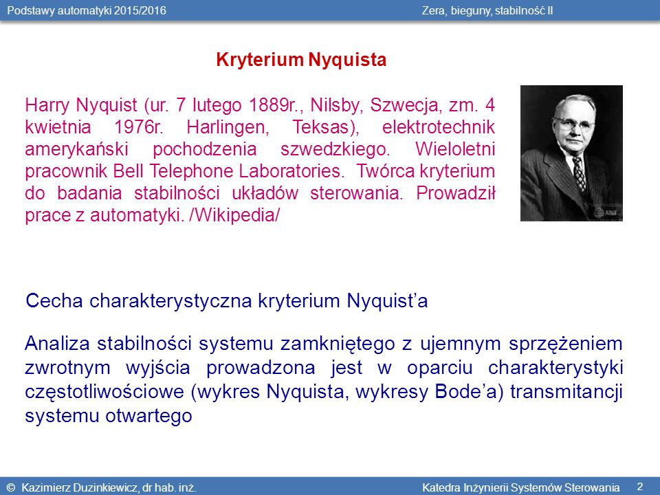 Cecha charakterystyczna kryterium Nyquist'a