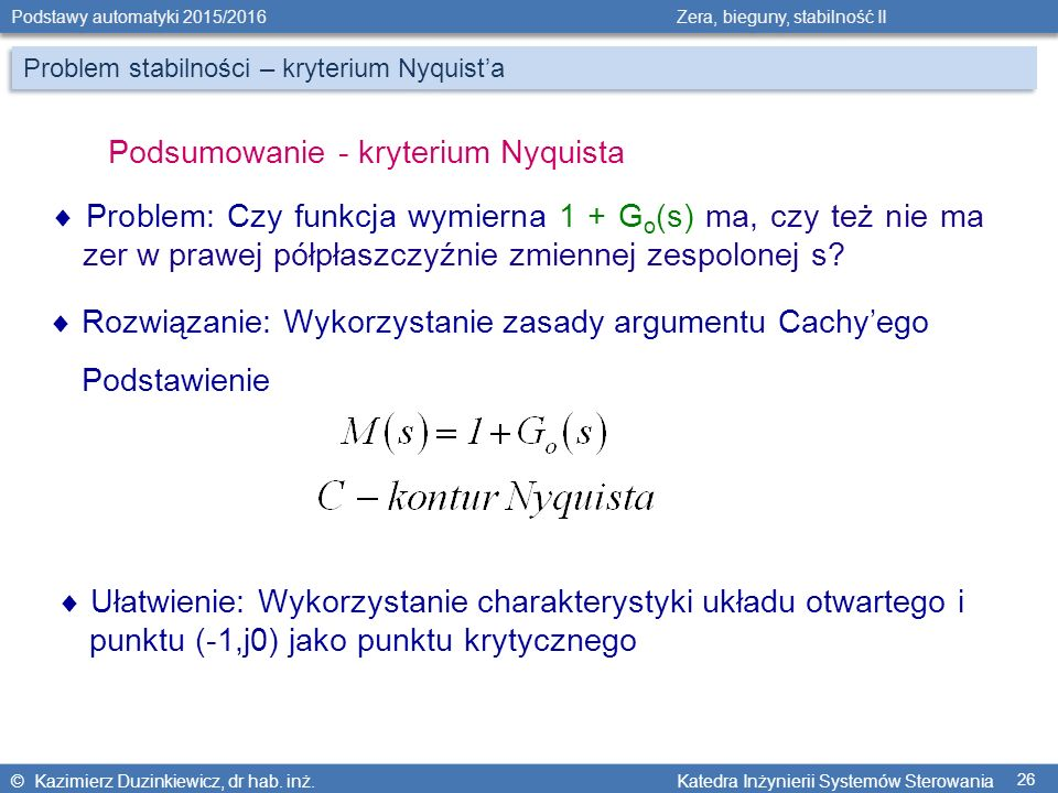 Podsumowanie - kryterium Nyquista
