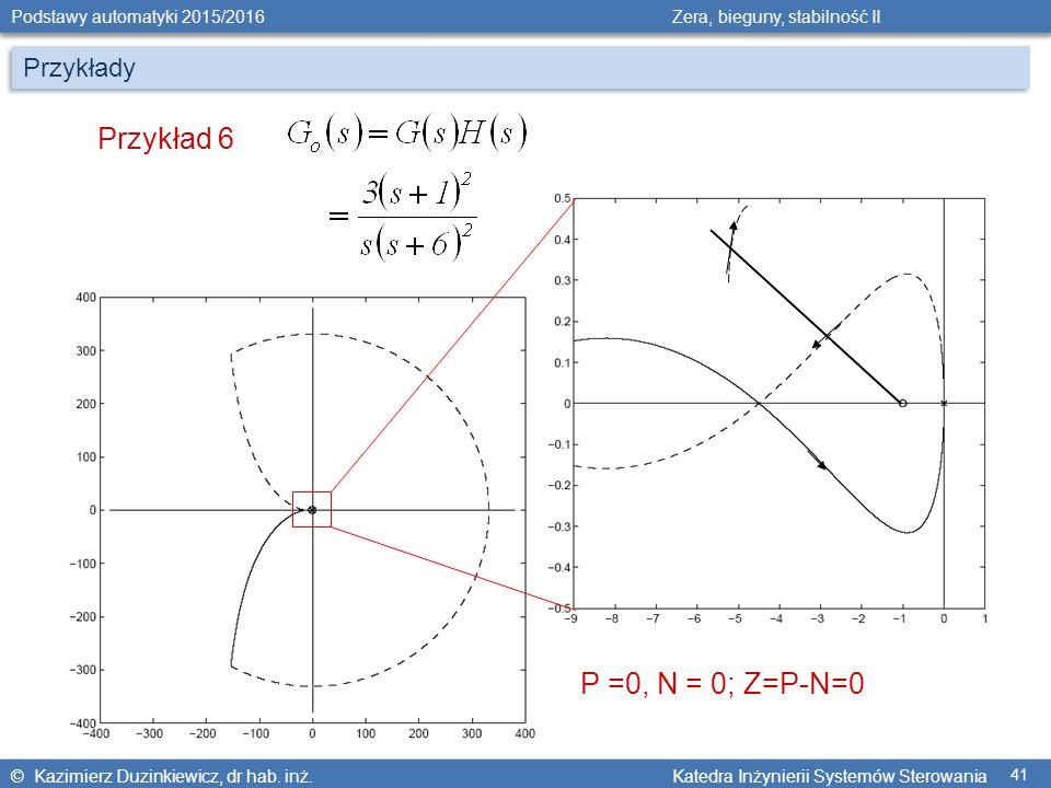 Przykłady Przykład 6 P =0, N = 0; Z=P-N=0