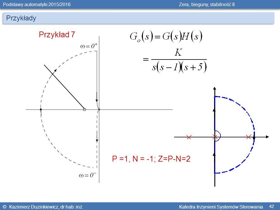 Przykłady Przykład 7 P =1, N = -1; Z=P-N=2