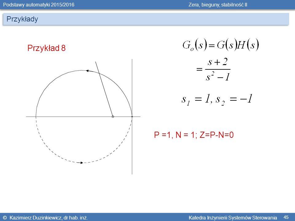 Przykłady Przykład 8 P =1, N = 1; Z=P-N=0