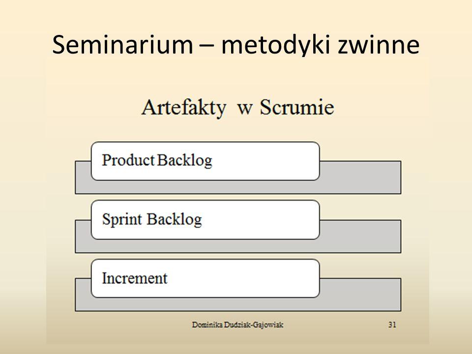 Seminarium – metodyki zwinne