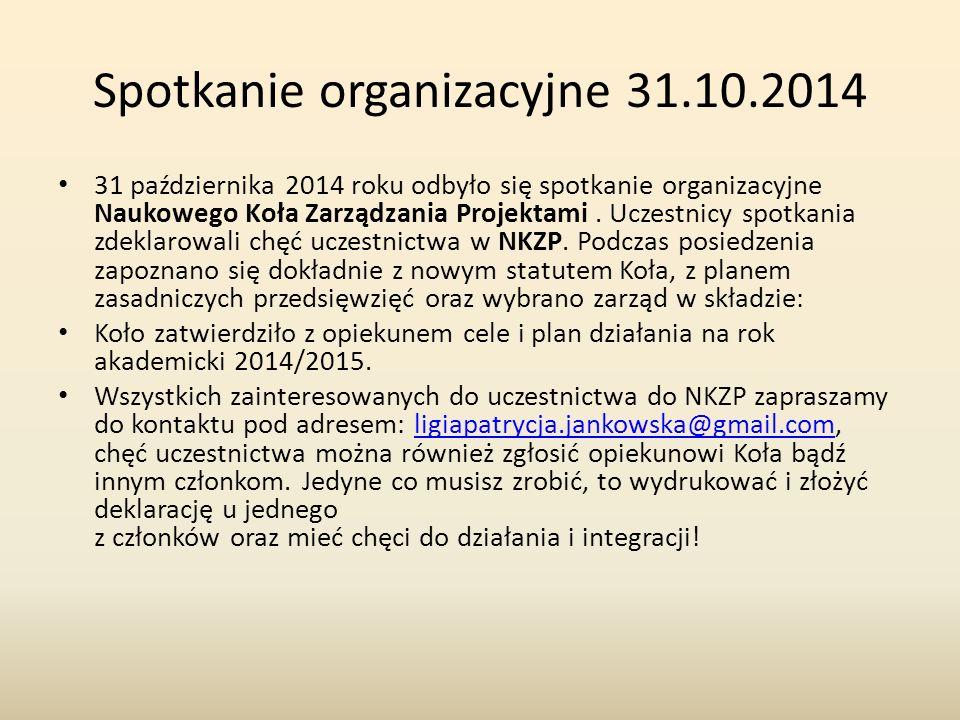 Spotkanie organizacyjne 31.10.2014