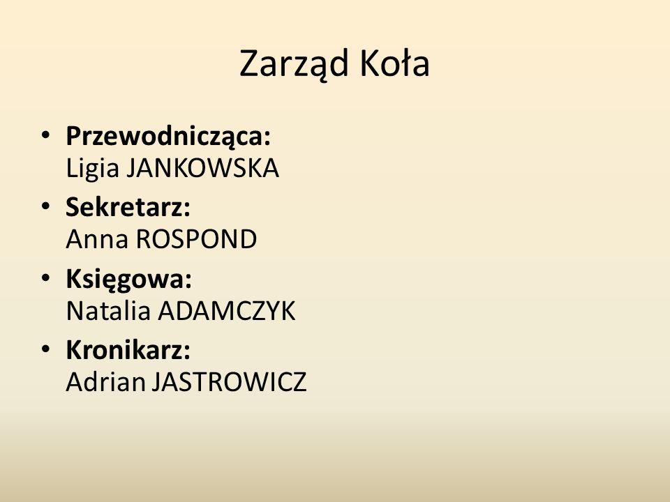 Zarząd Koła Przewodnicząca: Ligia JANKOWSKA Sekretarz: Anna ROSPOND