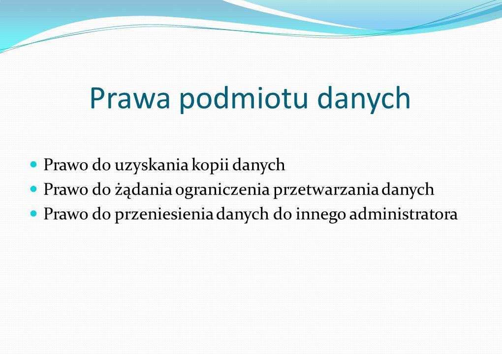 Prawa podmiotu danych Prawo do uzyskania kopii danych