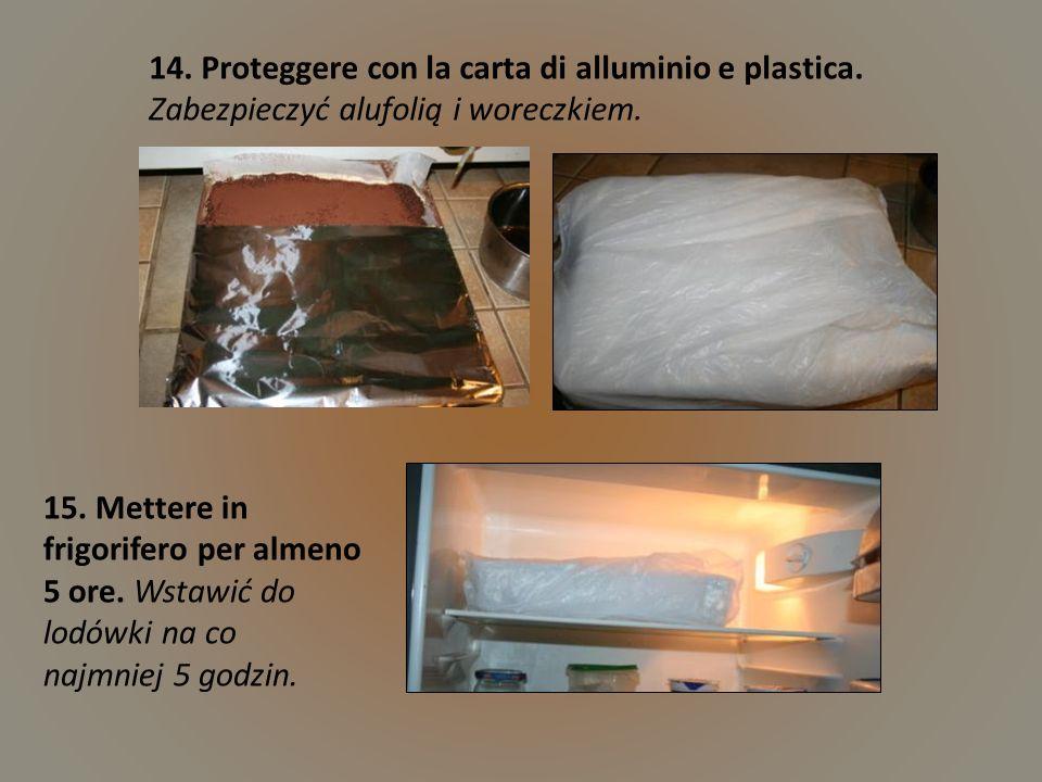 14. Proteggere con la carta di alluminio e plastica