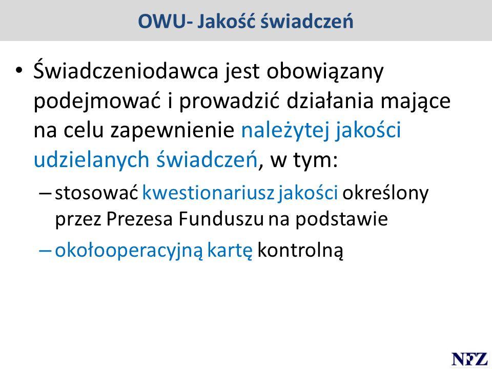 OWU- Jakość świadczeń