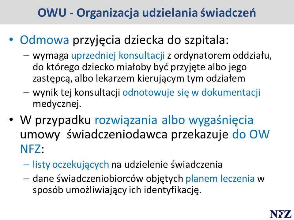 OWU - Organizacja udzielania świadczeń