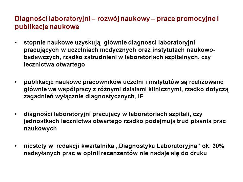 Diagności laboratoryjni – rozwój naukowy – prace promocyjne i publikacje naukowe