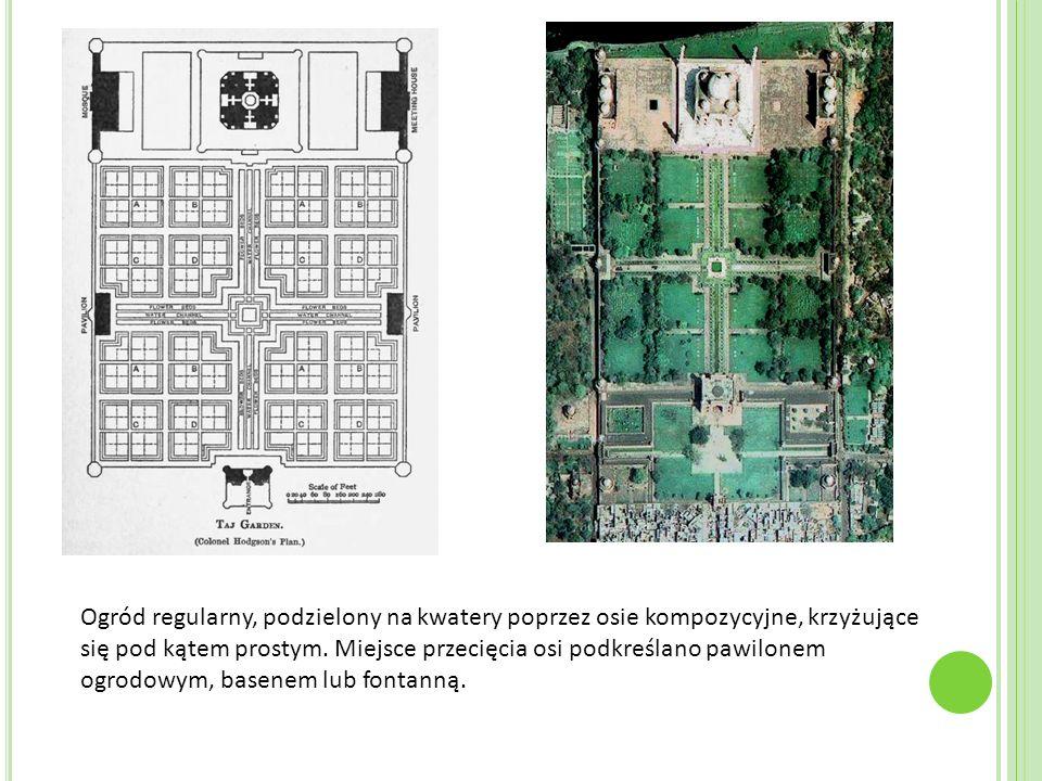 Ogród regularny, podzielony na kwatery poprzez osie kompozycyjne, krzyżujące się pod kątem prostym.
