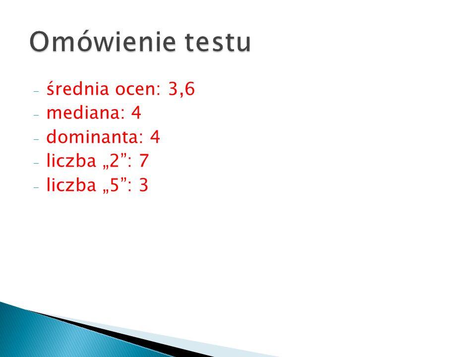 Omówienie testu średnia ocen: 3,6 mediana: 4 dominanta: 4
