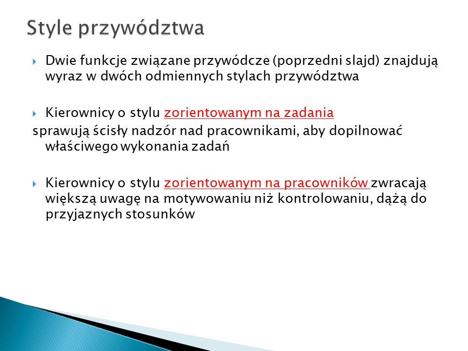 Style przywództwa Dwie funkcje związane przywódcze (poprzedni slajd) znajdują wyraz w dwóch odmiennych stylach przywództwa.