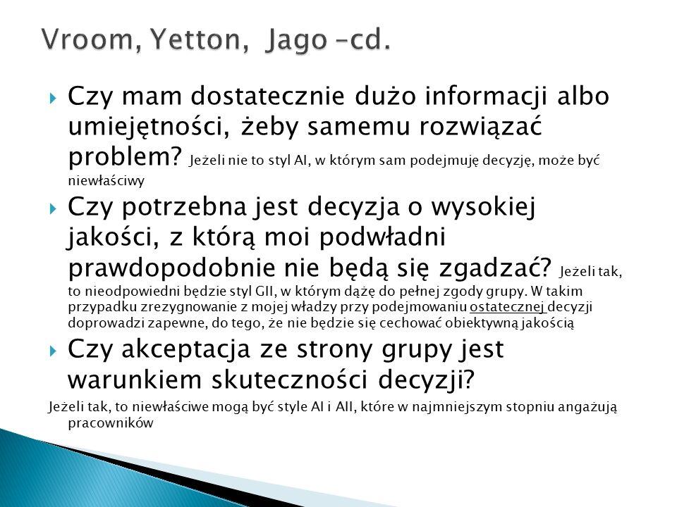 Vroom, Yetton, Jago –cd.