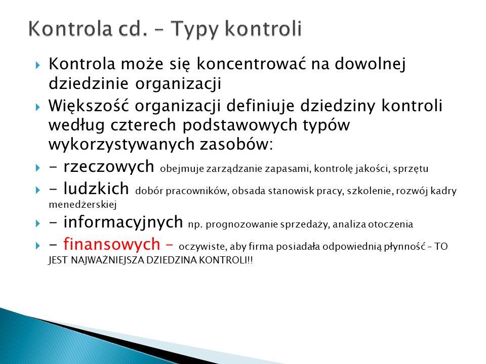 Kontrola cd. – Typy kontroli